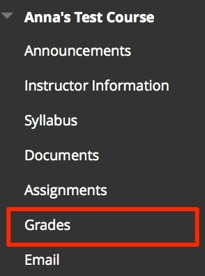 Click Grades on course menu to view